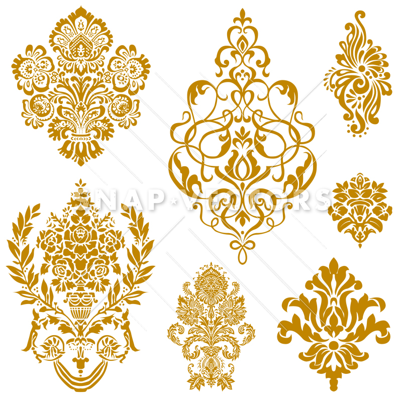 Vector Clipart Gold Damask and Floral Ornament Set.