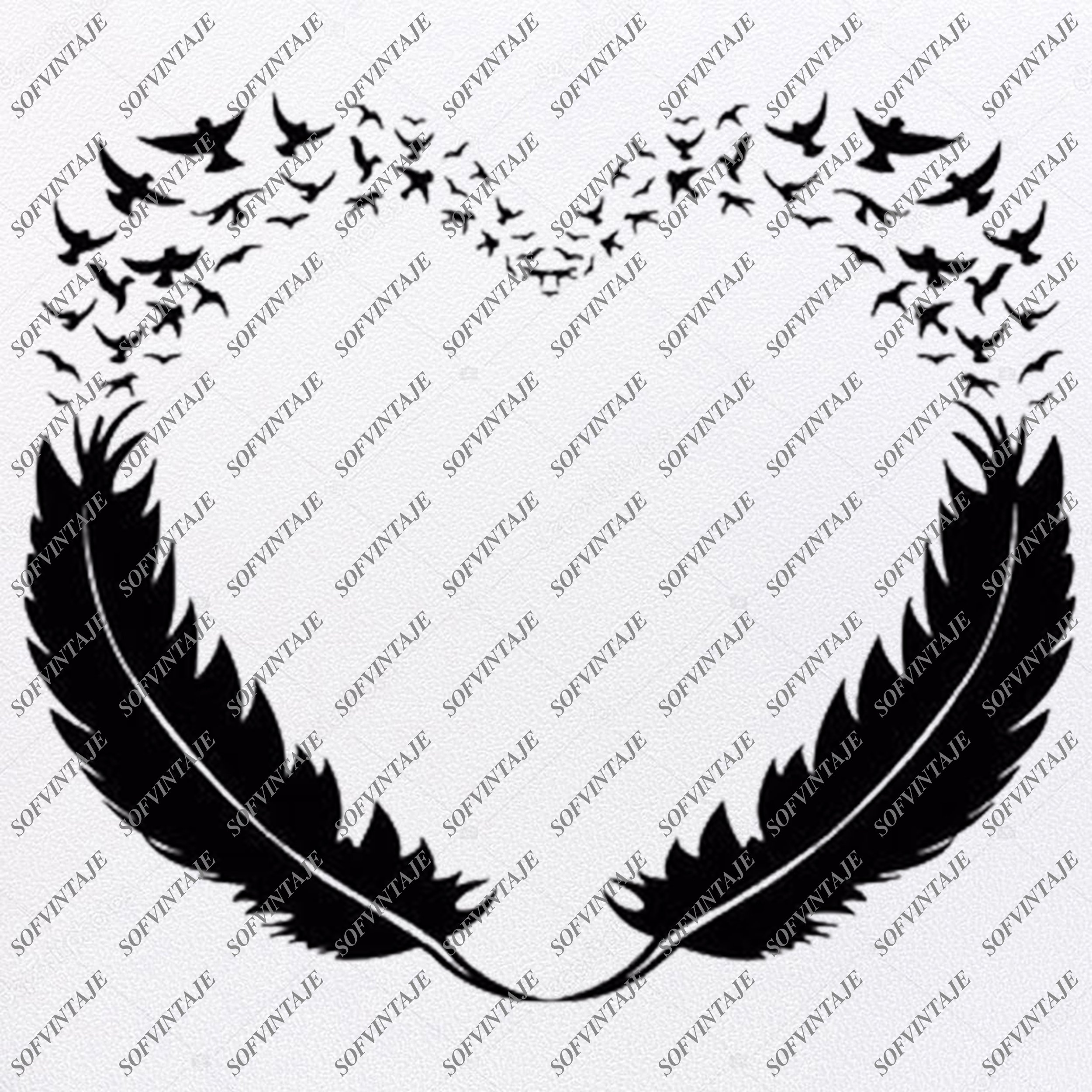 Feathers of Love Svg File.
