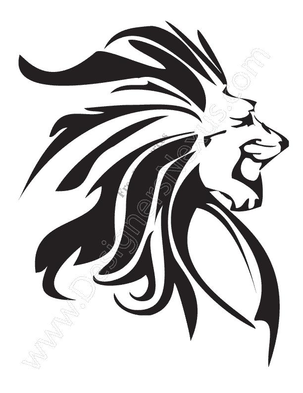 V12 Free Animal Vector Graphics Lion Clip Art Stencil.