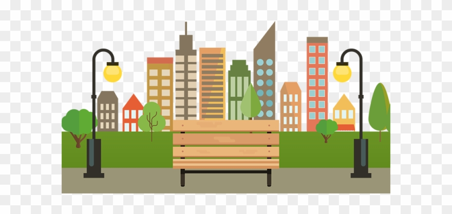Free Download City With Bench Png.