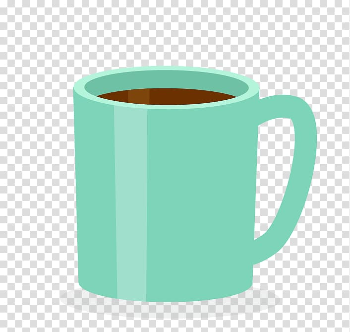 Green coffee mug illustration, Coffee cup Mug, Cup.