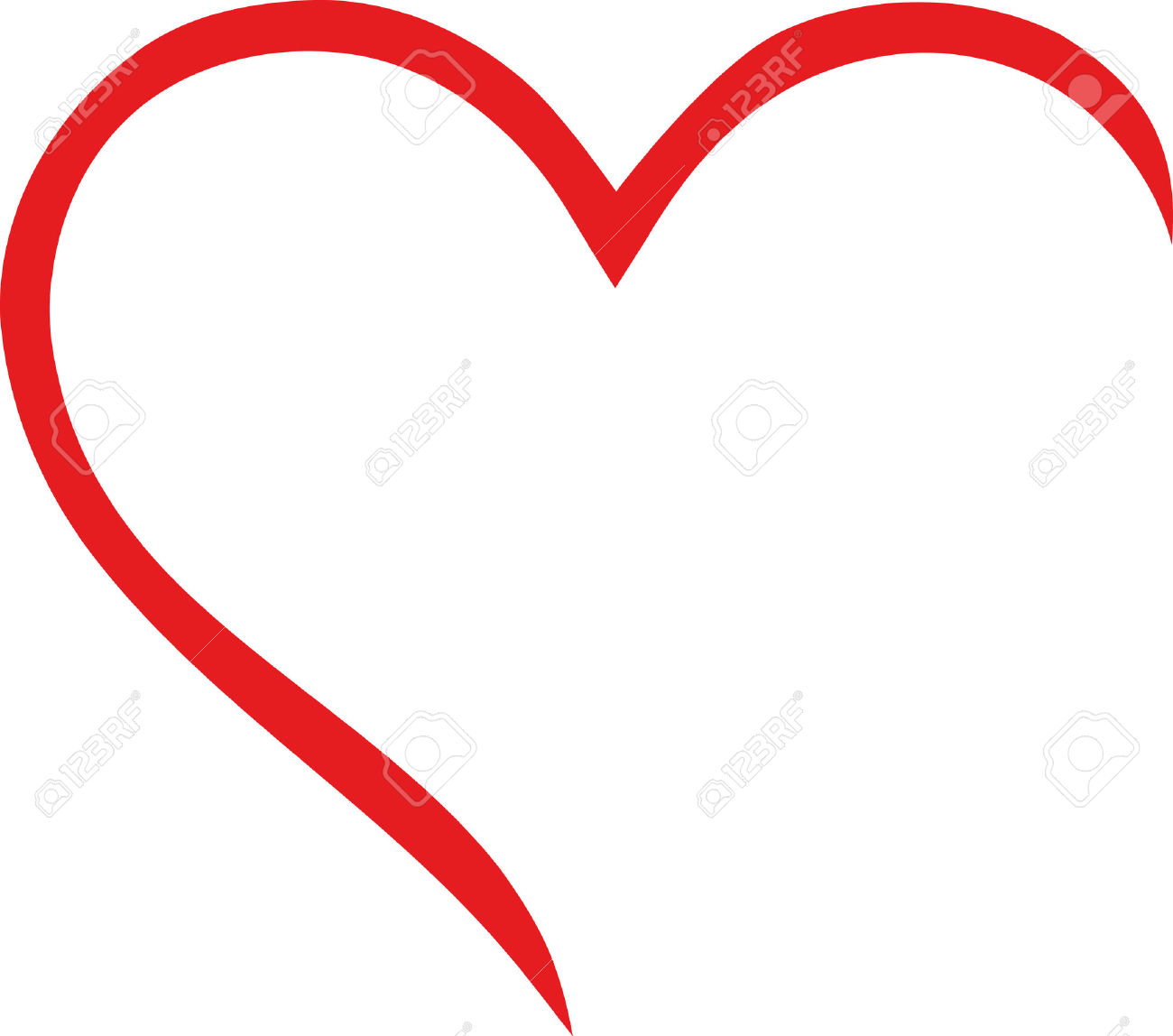 Half Heart Outline Royalty Free Cliparts, Vectors, And Stock.