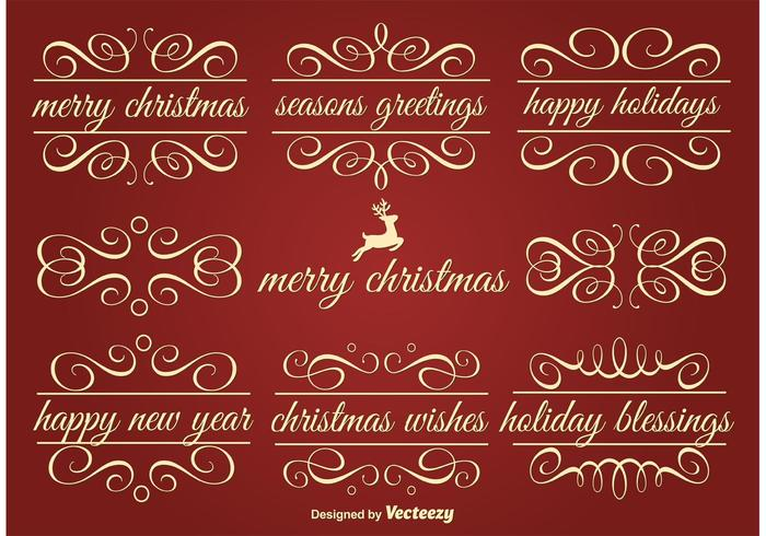 Vector Holiday Ornament Text Frames.