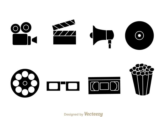 Black Movie Vector Icons.
