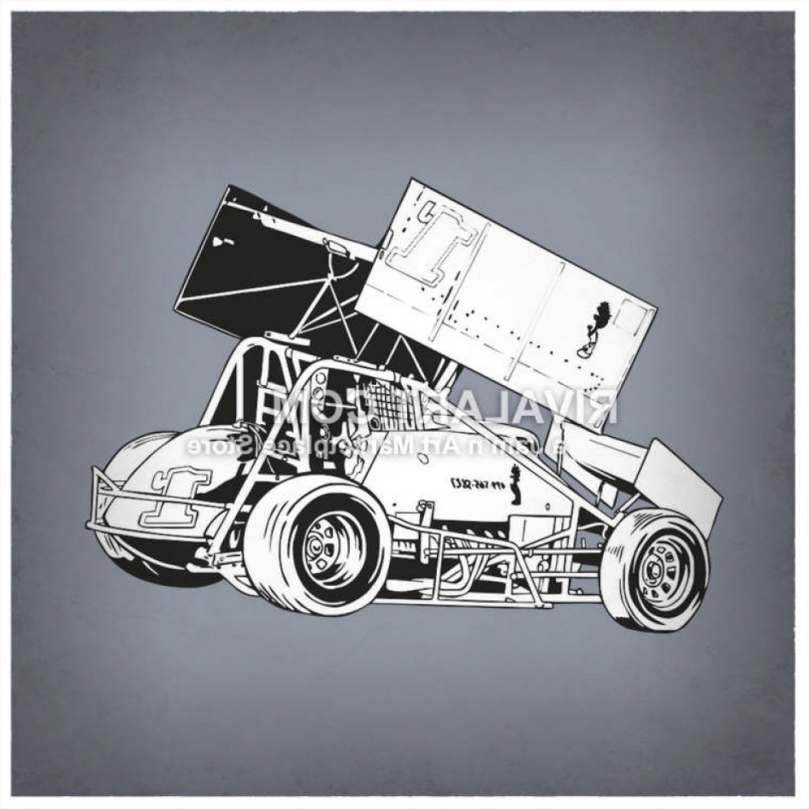 Vector Clipart Of Black White Sprint Car Race Racing Graphic.