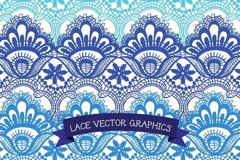 Vector Lace Border Clip Art.