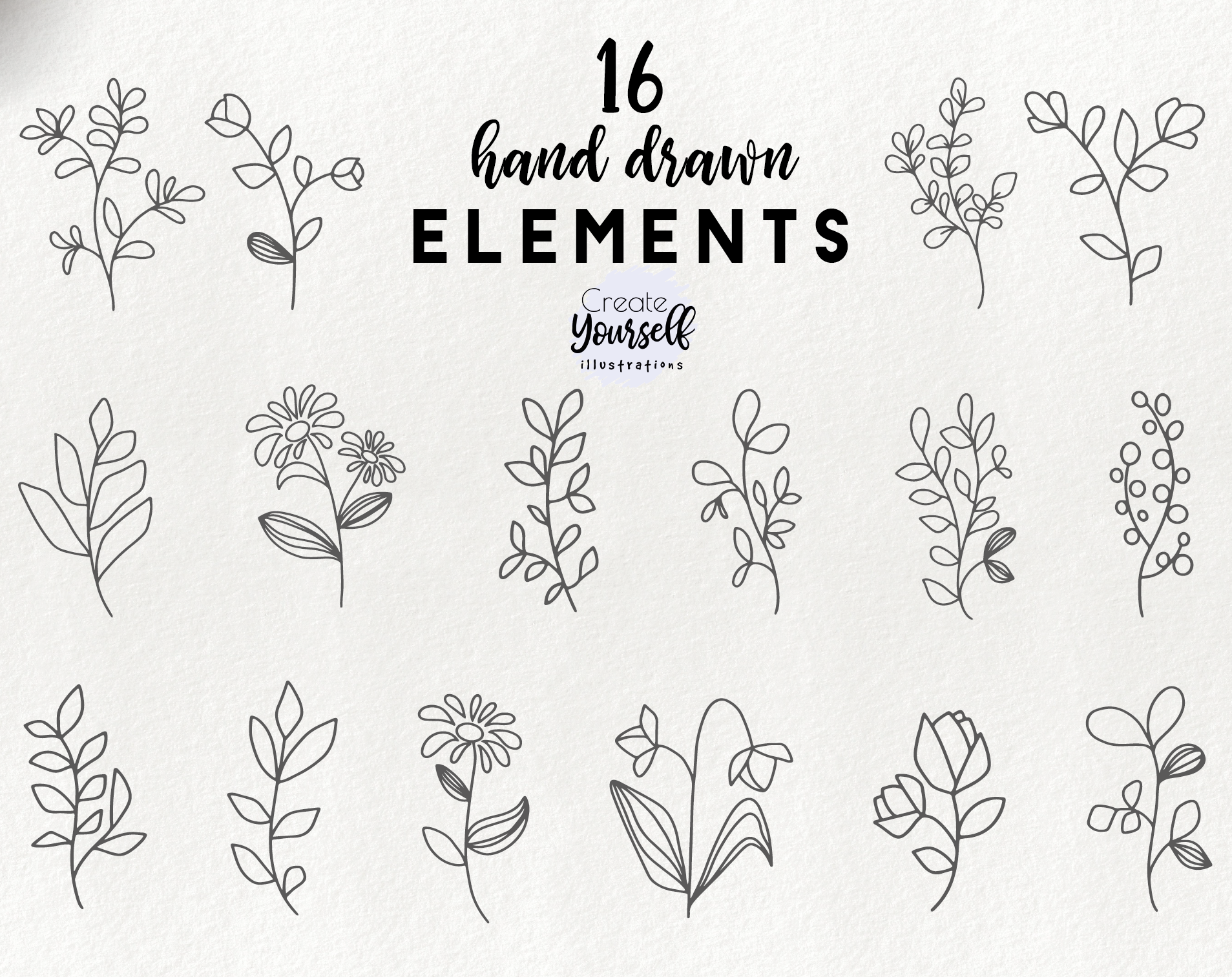 Hand drawn floral elements.