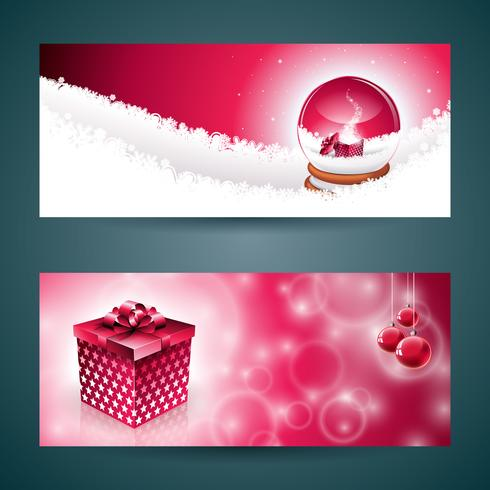 Vector Merry Christmas banner illustration with gift box and.