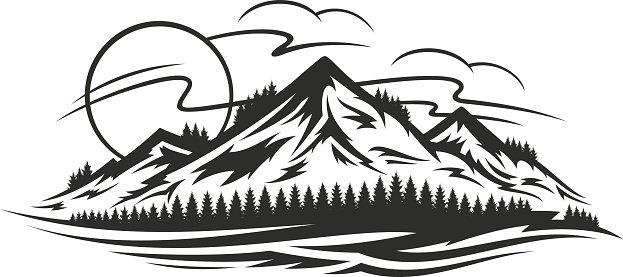Vector mountain landscape Clipart Image.