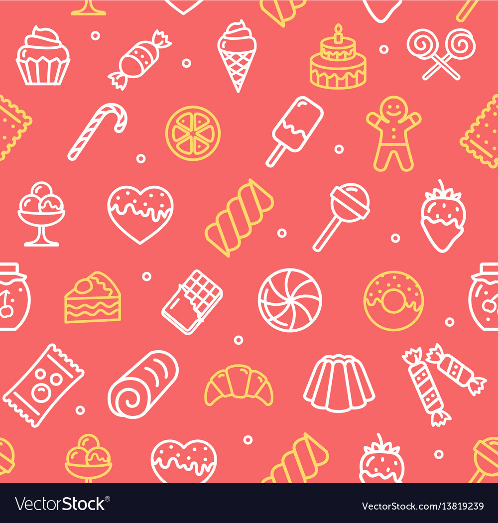 Sweets and bakery pattern background.