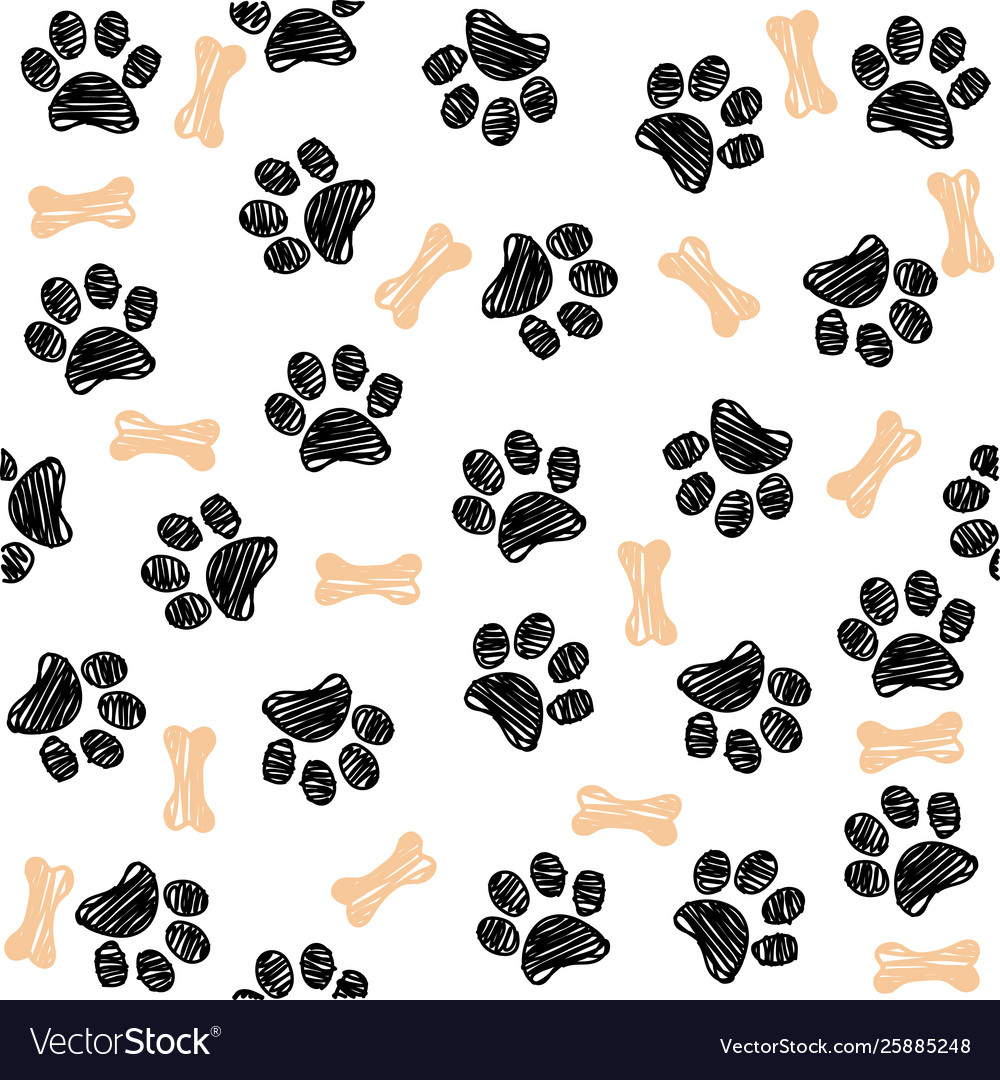 Background with dog paw print and bone.