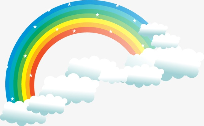 Vector Rainbow Clouds Cartoon Elements, #61901.