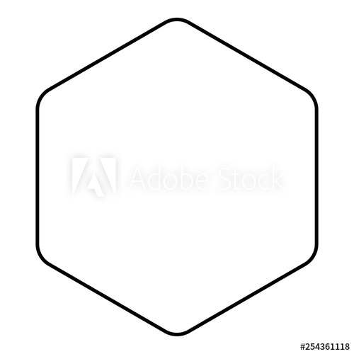Hexagon with rounded corners icon black color outline vector.