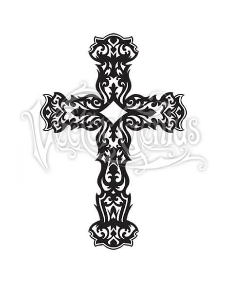 Graphic Ornate Decorative Cross Christian Clipart.