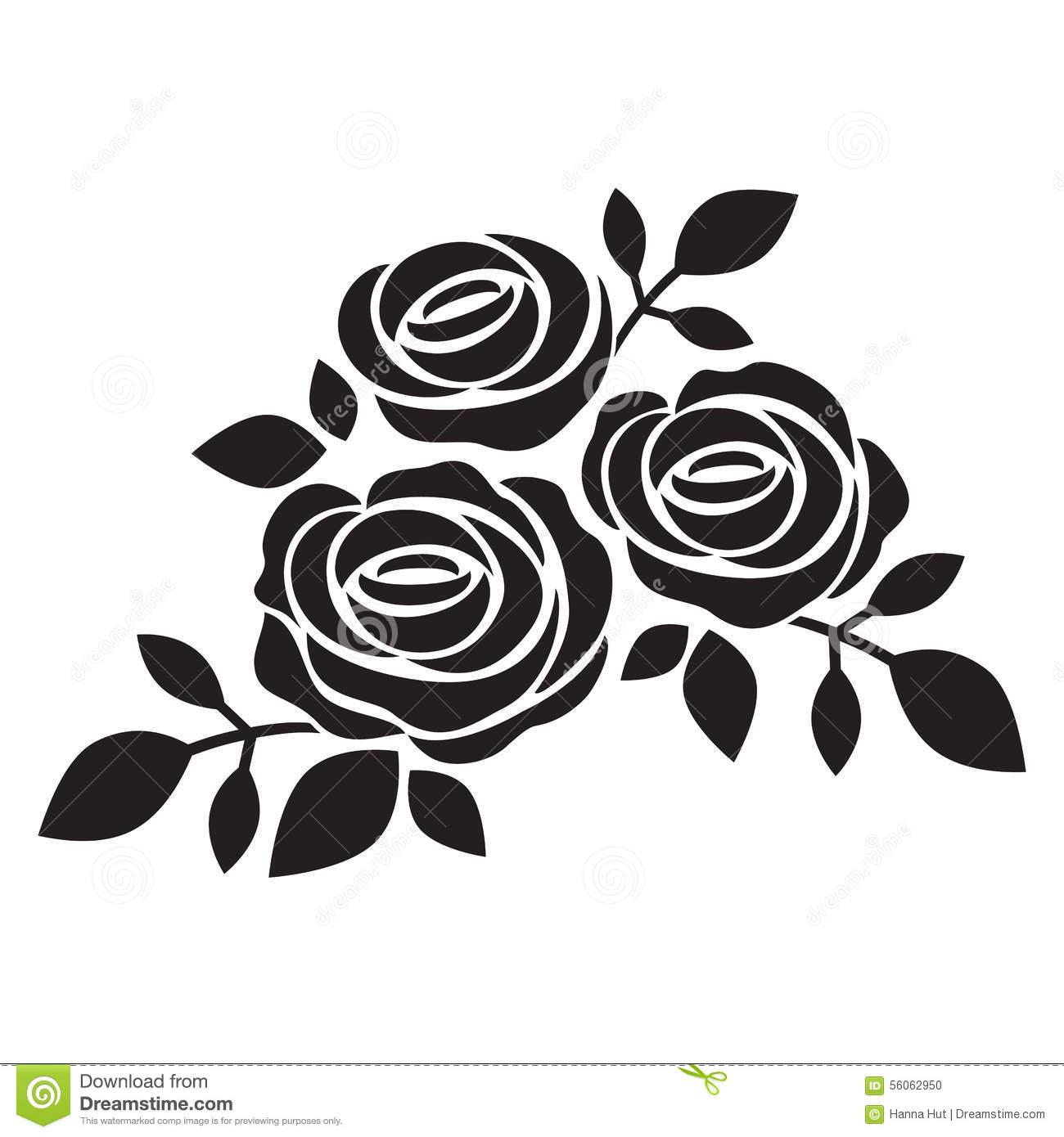 Vector Rose Silhouette.