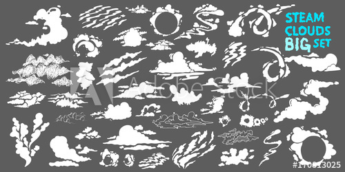 Steam clouds Big set. Fog flat isolated clipart for.