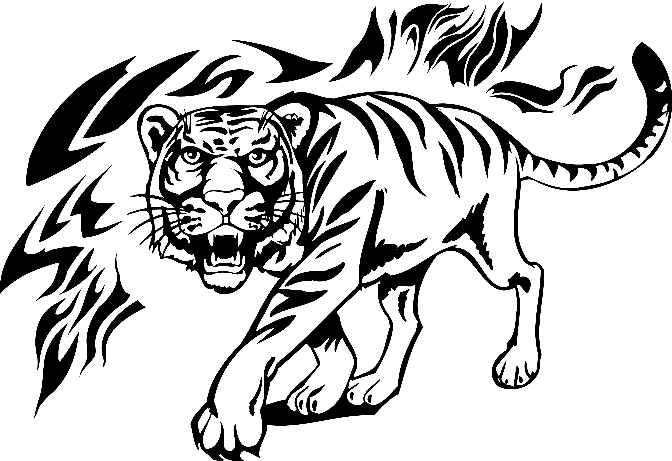 Tiger Lion Tattoo Decal.