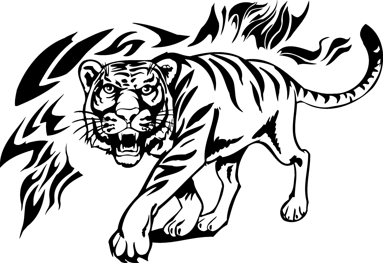 Tiger Lion Tattoo Decal.