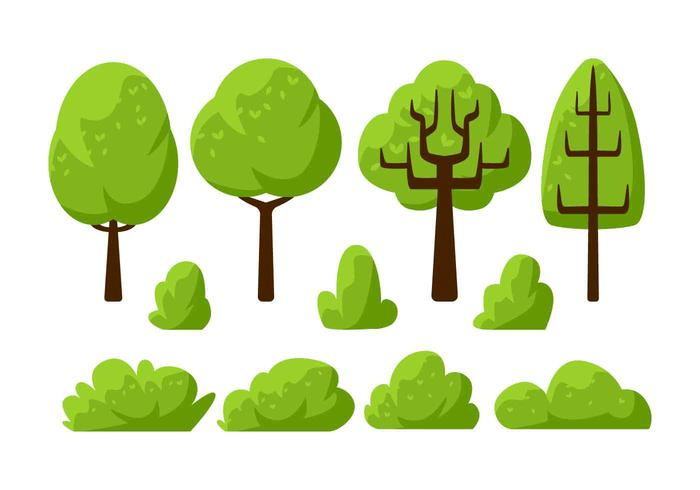 Tree Clipart Set Vector Illustration.