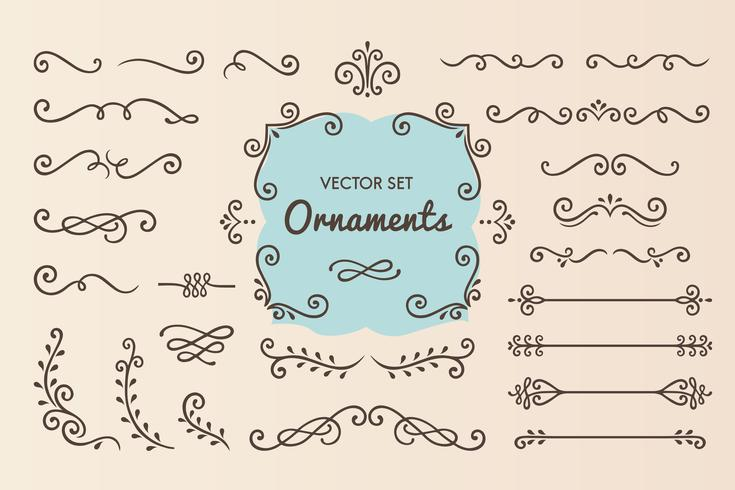 Set Collection of Vintage Ornament Elements.