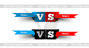 Versus design . Blue team versus red team. VS.