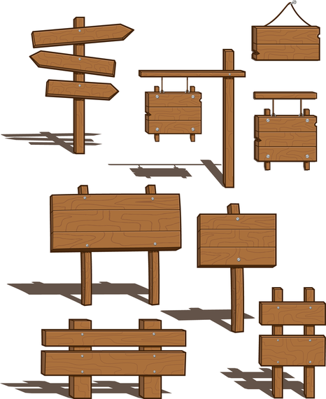 Wood Sign Signs Vector.