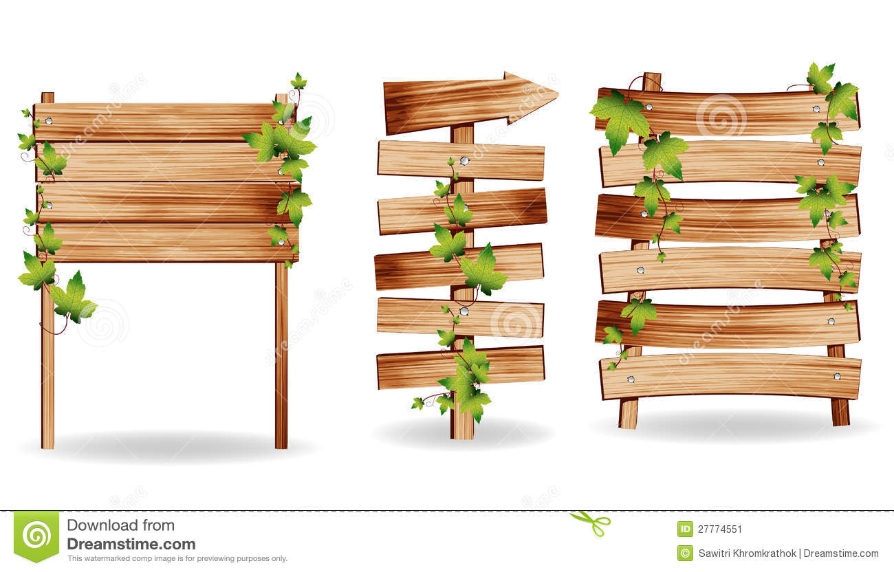 Vector Wooden Signs With Green Leaves Stock Image.