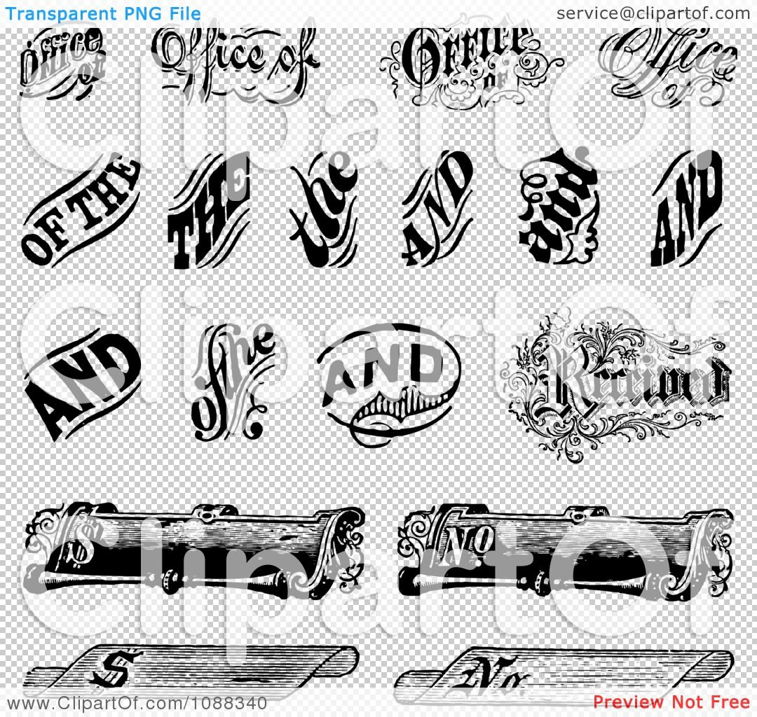 Clipart Black And White Vintage Word And Scroll Design.