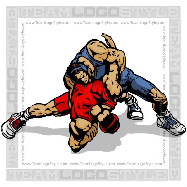 Vector Wrestlers Clip Art.