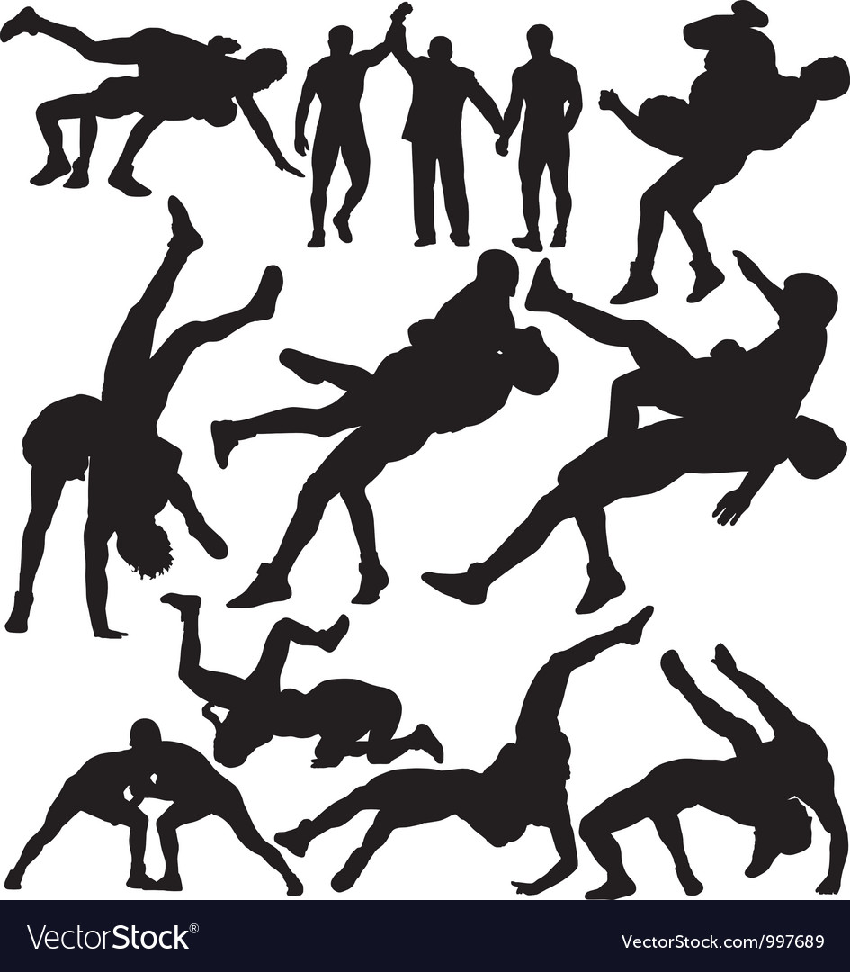Wrestling silhouettes.
