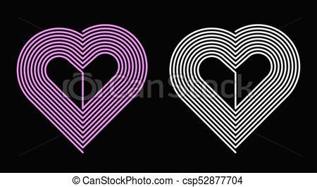 Rosa, corazón, blanco, vector. Rosa, corazón, heart.