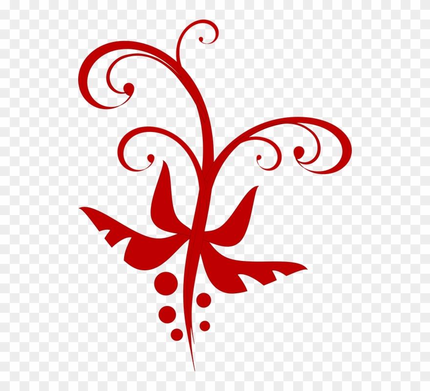 Vectores Florales Rojos Png Clipart (#386064).