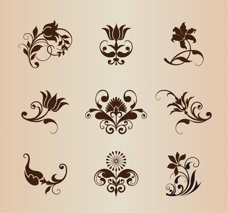 Vector conjunto de elementos ornamentales flores Vintage.