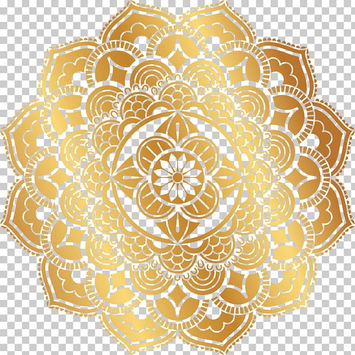 Adhesivo mandala dorado, motivo con motivos, patrón retro.