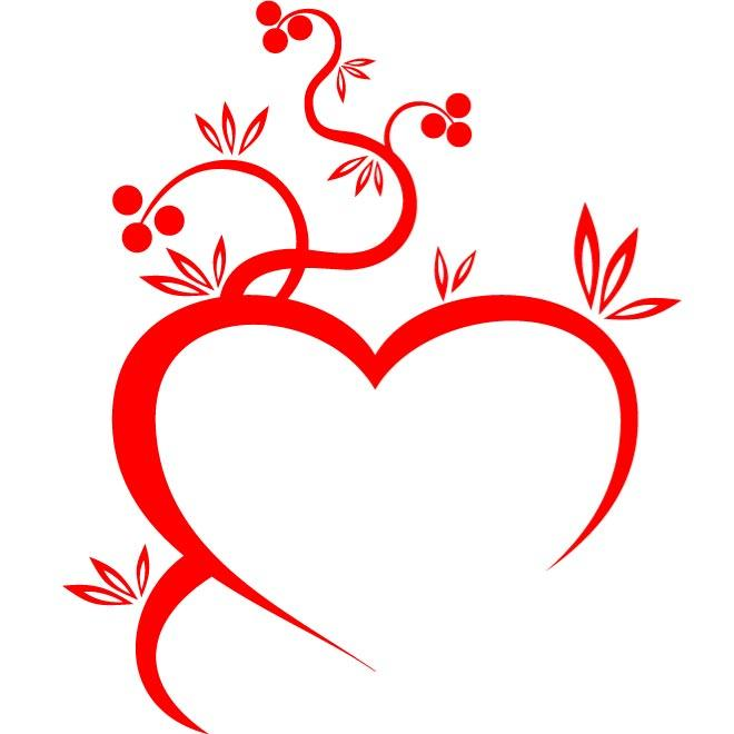 HEART AND FLOWER VECTOR GRAPHICS.