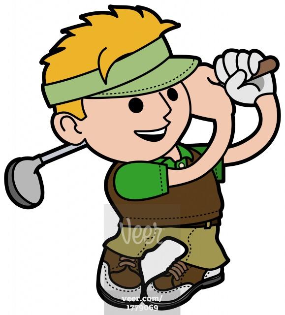 male golf player cartoon Stock Illustration.