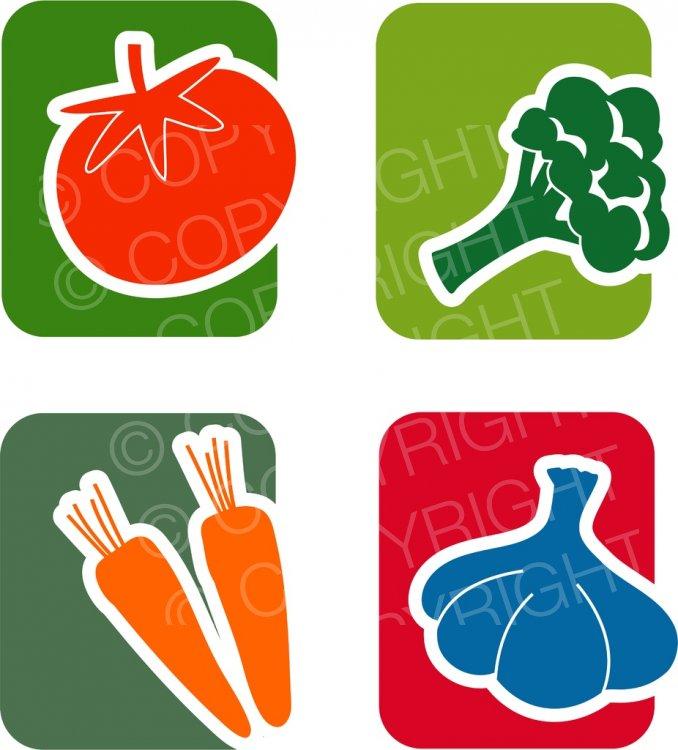 Vegetable Logo Icon Set Clip Art.