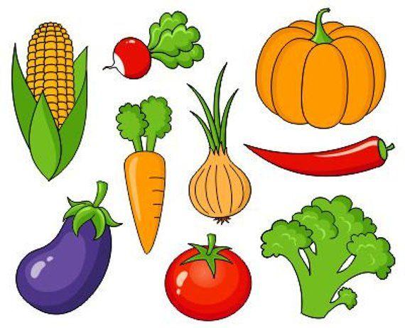 Fruits And Vegetables Clip Art Collection, Clipart Bundle.
