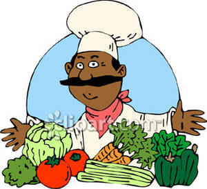 Cartoon Chef with Vegetables.