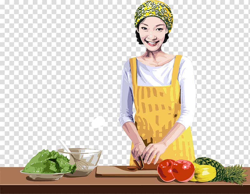 Cooking Chefs uniform Cuisine, Mother is cooking transparent.