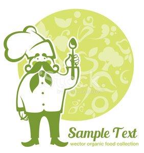 cartoon chef for your vegan menu Clipart Image.