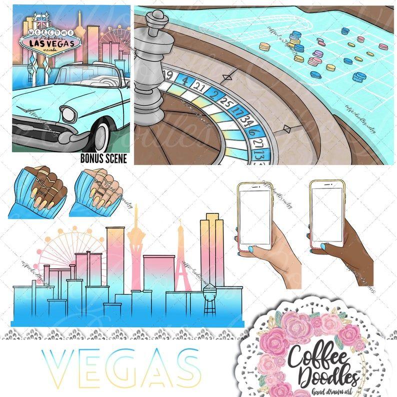 Vegas Baby! Inspired Clipart Fashion Girl Clip Art.