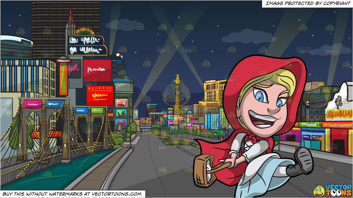 Little Red Riding Hood and Las Vegas Strip At Night Background.