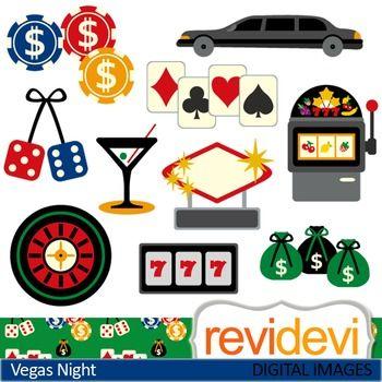 Clip art Vegas Night 07438 (chips, dice, limousine, jackpot.