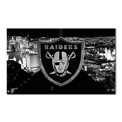 Karen Max Las Vegas City View Canvas Prints Wall Decor Oakland Raiders Logo  Painting, Home Decor Football Sport Pictures.