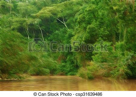 Stock Illustration of Amazonian Jungle Painting Style.