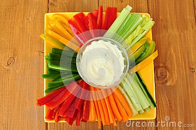 Raw Food With Vegetables And Dip Royalty Free Stock Photo.