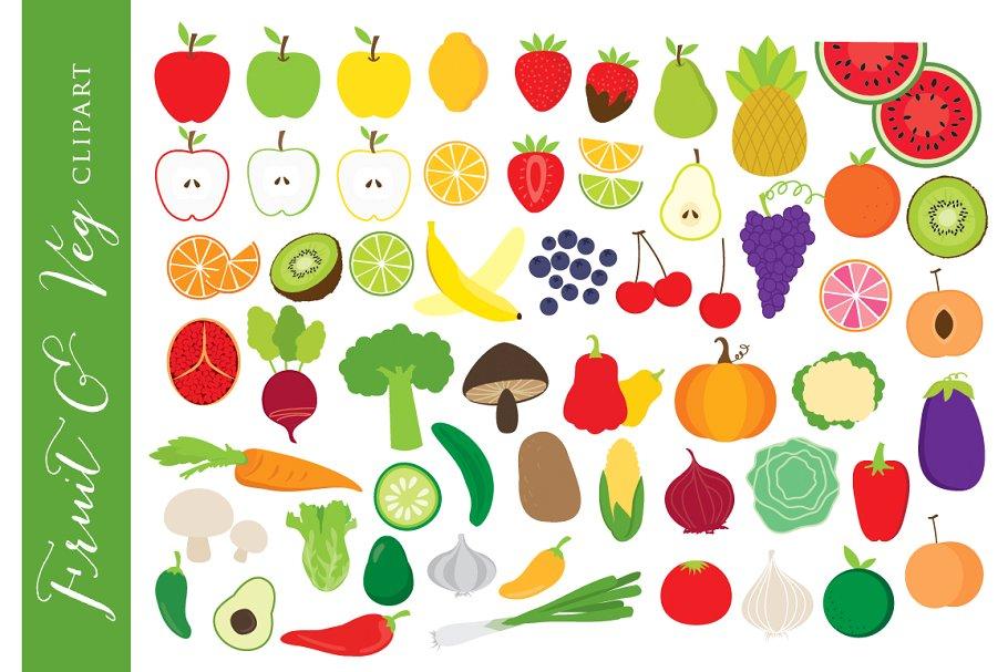 Vegetable clipart fruit clip art ~ Illustrations ~ Creative.