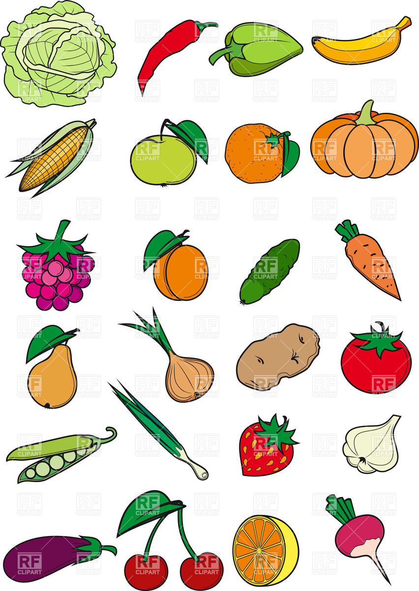 Eating Fruits And Vegetables Clipart.