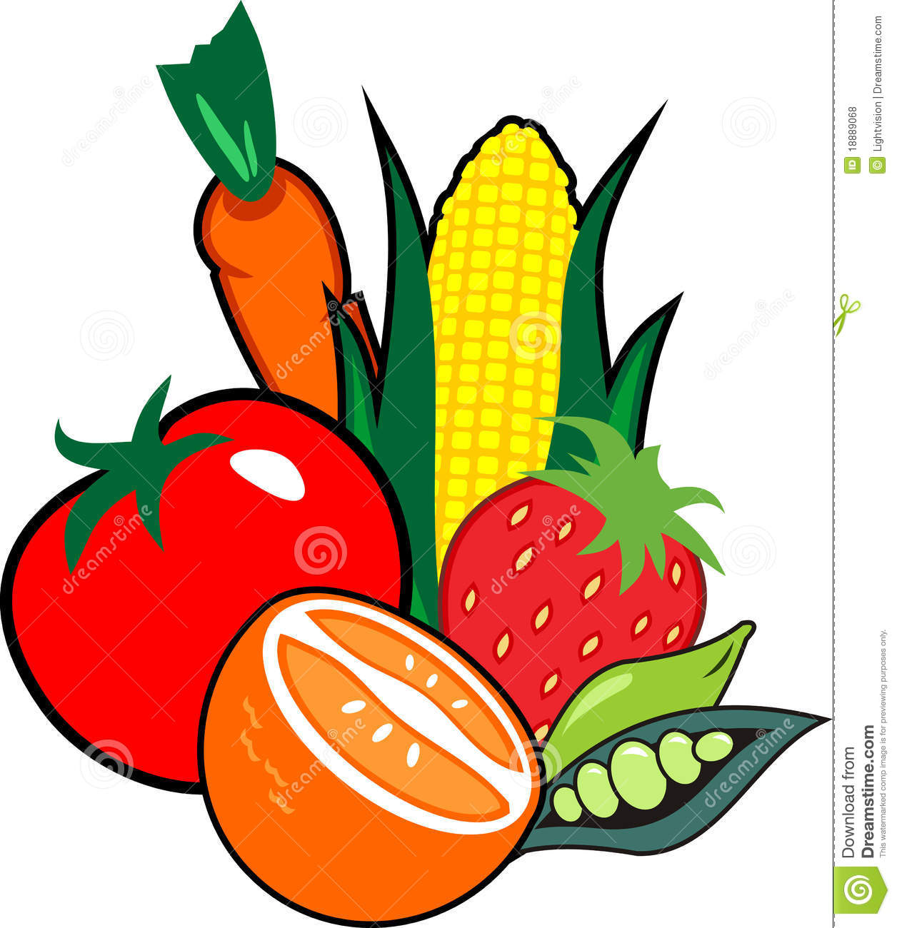 Clipart vegetables and fruits.